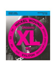 D'Addario EXL170M Nickel Wound Bass Strings, Light, 45-100, Medium Scale